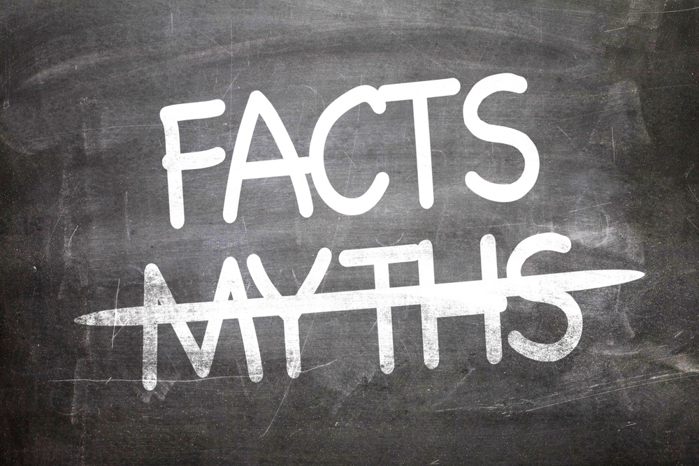Facts Myths written on a chalkboard