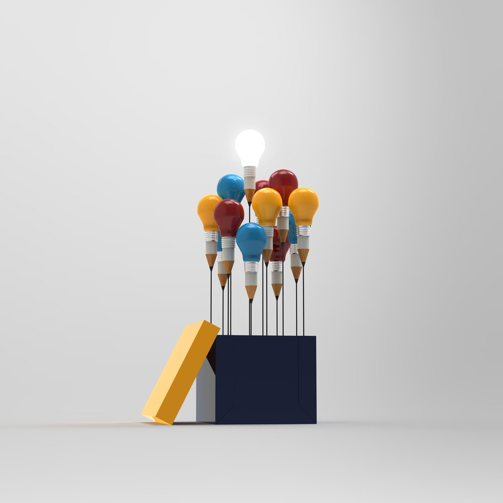 drawing idea pencil and light bulb concept outside the box as creative and leadership concept-1